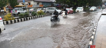 Panaji: A view of water logged streets of Panaji after heavy rains on June 28, 2019. (Photo: IANS)