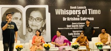 "New Delhi: Union Women and Child Development Minister Smriti Irani during the launch of the launch of the Dr. Krishna Saksena's ninth book titled the ""Whispers of Time"" at India International Centre in New Delhi, on June 30, 2019. (Photo: IANS)"
