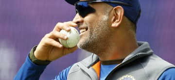 Manchester: India's MS Dhoni during a practice session on the eve of their World Cup 2019 match against West Indies at Old Trafford in Manchester, England on June 26, 2019. (Photo: Surjeet Yadav/IANS)