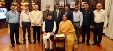 New Delhi: Union Finance Minister Nirmala Sitharaman with MoS Finance Anurag Thakur and team officials pose for a group photo after giving the final touches to the Union Budget 2019-20, in New Delhi on July 4, 2019. (Photo: IANS)