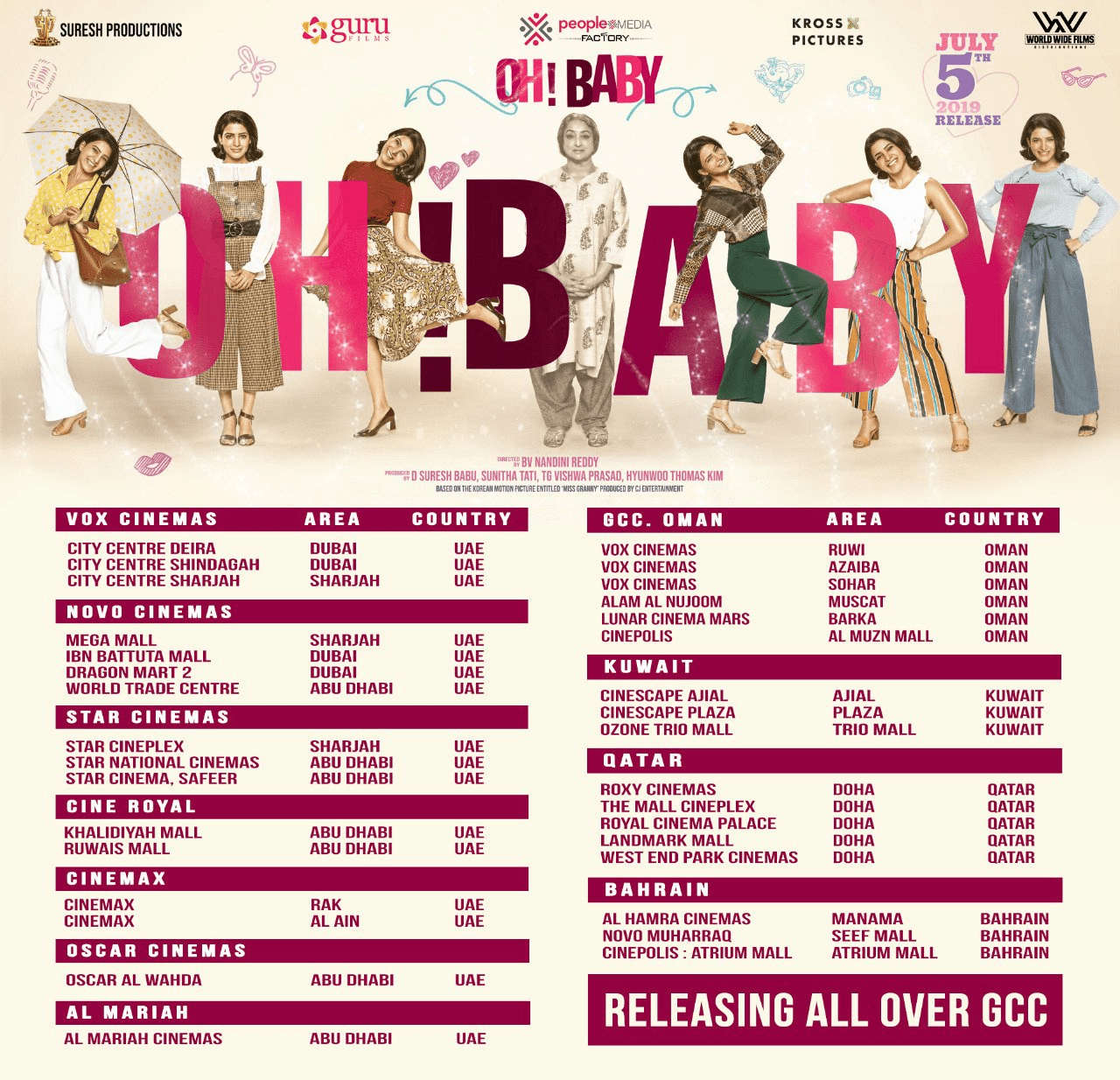 Oh Baby Movie UK And Europe Theaters List