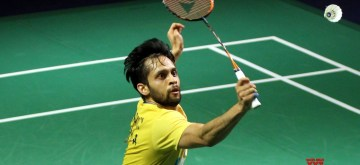 New Delhi: India's Parupalli Kashyap in action against Thai's Tanongsak Saensomboonsuk during Yonex-Sunrise India Open 2019 in New Delhi on March 28, 2019. (Photo: IANS)