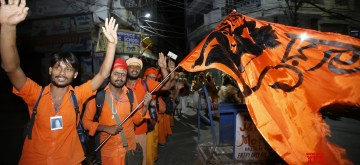Jammu: Devotees chant religious slogans as they leave for the 45-day long annual Hindu pilgrimage - Amarnath Yatra, in Jammu on July 6, 2019. (Photo: IANS)