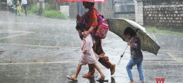 Dharamsala: People shield themselves with umbrellas during rains, in Dharamsala on July 8, 2019. (Photo: IANS)