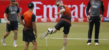 Manchester: New Zealand's players during a practice session ahead of the first semifinal match of World Cup 2019 against India at Old Trafford in Manchester, England on July 8, 2019. (Photo: Surjeet Kumar/IANS)