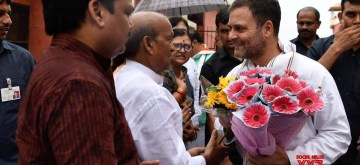 Congress leader Rahul Gandhi being received by party workers on his arrival at the Chaudhary Charan Singh International Airport in Lucknow on July 10, 2019. (Photo: IANS)