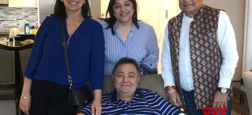 "New York: Singer Anup Jalota visits actor Rishi Kapoor in New York where the actor is undergoing medical treatment since last year, on July 9, 2019. Rishi Kapoor on Tuesday night shared a photograph of himself with his wife Neetu Kapoor and Jalota. He captioned the image: ""Anup Jalota and us. Thank you for coming."" (Photo: IANS)"
