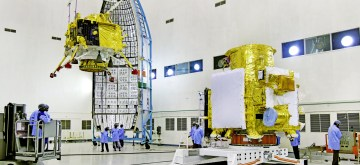 Sriharikota: Hoisting of Vikram lander during Chandrayaan2 spacecraft integration at launch centre. India's heavy lift rocket Geosynchronous Satellite Launch Vehicle - Mark III (GSLV Mk III), nicknamed as 'Bahubali' and its passenger Chandrayaan-2 being readied up for their historic flight to the Moon on July 15 at the Satish Dhawan Space Centre in Sriharikota of Andhra Pradesh's Nellore district. (Photo: IANS/ISRO)