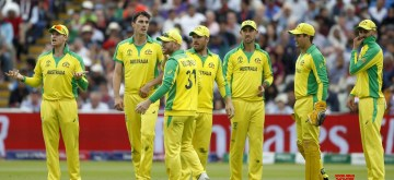 Birmingham: Australian players celebrate fall of Jason Roy's wicket during the second semi-final match of the 2019 World Cup between England and Australia at the Edgbaston Cricket Stadium in Birmingham, England on July 11, 2019. (Photo: Surjeet Kumar/IANS)