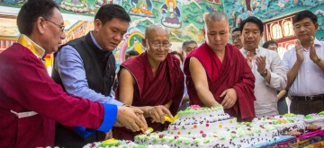 Itanagar: Arunachal Pradesh Chief Minister Pema Khandu cuts a cake during the 84th birthday celebrations of spiritual leader the Dalai Lama, at the Centre for Buddhist Culture Gompa in Itanagar on July 6, 2019. (Photo: IANS)