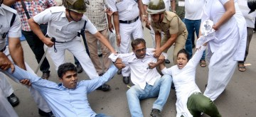 Kolkata: Police detains Congress activists protesting against the incidents of mob lynching in the country, at West Bengal Assembly in Kolkata on July 11, 2019. (Photo: IANS)