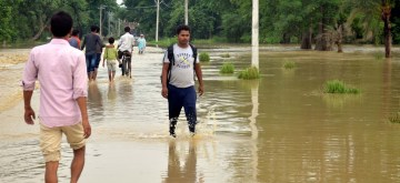 Aurai: A view of flood hit Aurai, Muzaffarpur district of Bihar on July 14, 2019. (Photo: IANS)