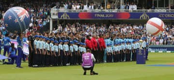 London: Players of England and New Zealand stand for their National Anthem ahead the final match of the 2019 World Cup between New Zealand and England at the Lord's Cricket Stadium in London, England on July 14, 2019. (Photo: Surjeet Kumar/IANS)