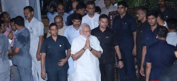 New Delhi: Prime Minister Narendra Modi arrives to pay tribute to Former Chief Minister Sheila Dikshit who passed away at a Delhi Hospital on July 20, 2019. (Photo: IANS)