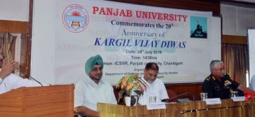 Chandigarh: Haryana Minister Capt. Abhimanyu addresses during a programme organised to commemorate the 20th  Kargil Vijay Divas, at Panjab University in Chandigarh on July 24, 2019. (Photo: IANS)