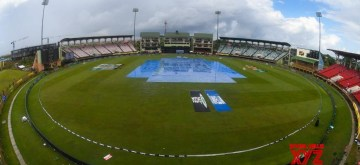 Guyana: A view of the pitch at Providence Stadium covered with plastic sheets during rains that interrupted the 1st ODI match between India and West Indies at Providence Stadium in Guyana on Aug 8, 2019. (Photo: Twitter/ICC)