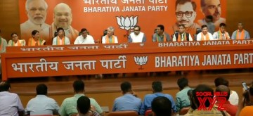 New Delhi: 10 of the 13 MLAs of the Sikkim Democratic Front -- which ruled the northeastern state for 25 years -- join BJP in the presence of party's National General Secretary Ram Madhav, at the party's headquarters in New Delhi on Aug 13, 2019. (Photo: IANS/BJP)
