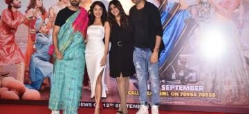 "Mumbai: Director Raaj Shaandilyaa and producer Ekta Kapoor with actors Ayushmann Khurrana and Nushrat Bharucha at the trailer launch of their upcoming film ""Dream Girl"" in Mumbai on Aug 12, 2019. (Photo: IANS)"