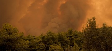 (190813) -- EVIA, Greece, Aug. 13, 2019 (Xinhua) -- Flames and smoke are rising as a wildfire is raging near Makrymalli village on Evia island, Greece, on Aug. 13, 2019. Hundreds of villagers have been evacuated as firefighters were battling the flames hampered by strong winds, according to a Fire Service announcement. (Photo by Nick Paleologos/Xinhua) 雅典分社李晓鹏八月十三日审
