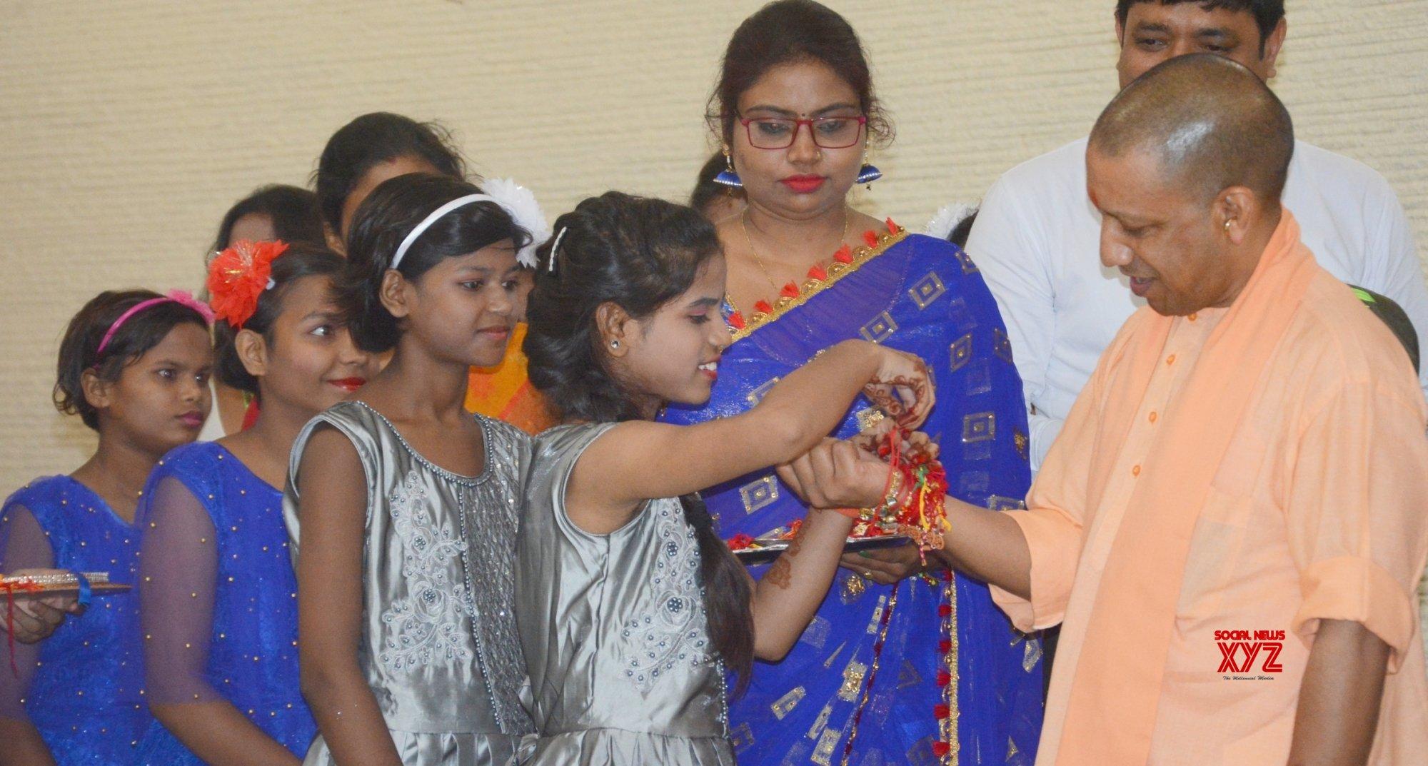 Lucknow: Yogi Adityanath celebrates Raksha Bandhan #Gallery