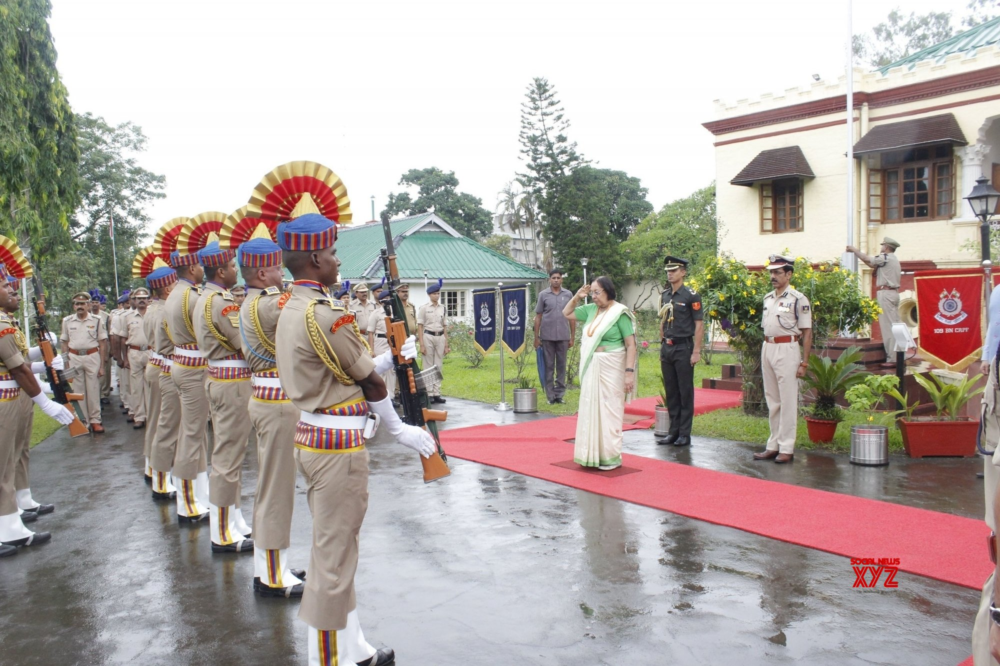 Imphal: Najma Heptulla inspects 73rd Independence Day parade at Raj Bhavan #Gallery
