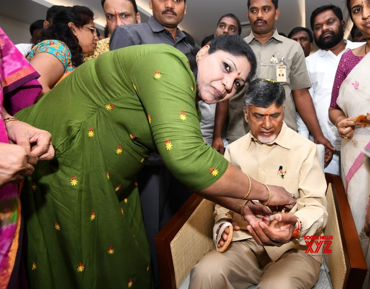 Hyderabad: Chandrababu Naidu during Raksha Bandhan celebrations #Gallery