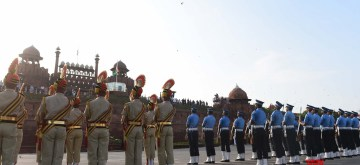 New Delhi: Defence personnel during the full dress rehearsals for the 73rd Independence Day parade, at Red Fort in New Delhi on Aug 13, 2019. (Photo: IANS)