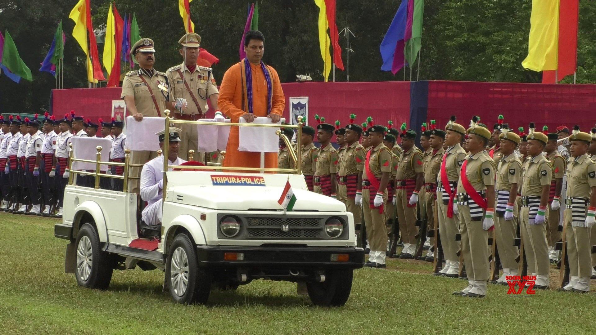 Agartala: Biplab Kumar Deb during 73rd Independence Day celebrations in Tripura #Gallery