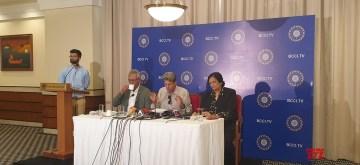 Mumbai: Indian Coach Selection Committee members Anshuman Gaikwad, Kapil Dev and Shanta Rangswami talk to the media persons, in Mumbai on Aug 16, 2019. (Photo: Twitter/@BCCI)