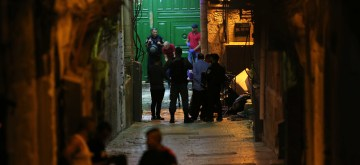 JERUSALEM, Aug. 15, 2019 (Xinhua) -- Israeli security and rescue personnel work near the scene where Palestinians were shot by Israeli police in Jerusalem's old city, on Aug. 15, 2019. One Palestinian man was shot dead and another critically wounded after they stabbed an Israeli police officer in Jerusalem on Thursday evening, the police said. (Photo by Muammar Awad/Xinhua/IANS)