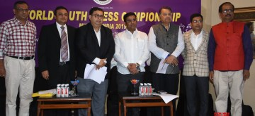 Mumbai: All Marathi Chess Association (AMCA) Organising Secretary Vijay Deshpande, Working President Rahul Shah, Tournament Director and FIDE Asian Zone President R.M. Dongre, Organising Committee Chairman and MoS PWD,  Forest and Tribal Development Parinay Fuke, Nasscom Co-Founder Harish Mehta, Joint Organising Secretary Pravin Jain during a press conference to announce the World Youth Chess Championship in Mumbai on Aug 17, 2019. (Photo: IANS)