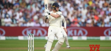 Birmingham: England's Ben Stokes in action on Day 3 of the first match of ICC World Test Championship between Australia and England at Edgbaston Stadium in Birmingham, England on Aug 3, 2019. (Photo: Twitter/@ICC)