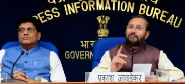 New Delhi: Union Railways and Commerce Minister Piyush Goyal along with Union Environment, Forest and Climate Change and Information and Broadcasting Minister Prakash Javadekar, during a Cabinet Briefing in New Delhi on Aug 28, 2019. (Photo: IANS)