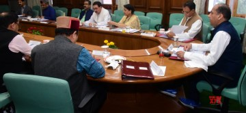 Shimla: Himachal Pradesh Chief Minister Jai Ram Thakur presides over the state cabinet meeting, in Shimla on Aug 31, 2019. (Photo: IANS)