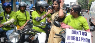 Kolkata: Bikers participate in an awareness rally organised by the Kolkata Traffic Police, on Aug 31, 2019. (Photo: IANS)