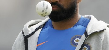 Manchester: India's Mohammed Shami during a practice session ahead of the 46th match of World Cup 2019 against New Zealand at Old Trafford in Manchester, England on July 8, 2019. (Photo: Surjeet Kumar/ IANS)