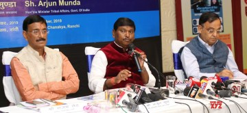 Ranchi: Union Tribal Affairs Minister Arjun Mundra addresses a press conference on completion of 100 Days of Government in Ranchi on Sep 9, 2019. (Photo: IANS/PIB)