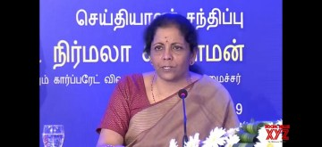 Chennai: Union Finance and Corporate Affairs Minister Nirmala Sitharaman addresses a press conference on completion of 100 Days of Government, in Chennai on Sep 10, 2019. (Photo: IANS/PIB)