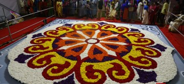 "Kochi: A huge and colorful ""pookkalam"" (floral carpet) during Onam celebrations in Kochi, Kerala on Sep 10, 2019. (Photo: IANS)"