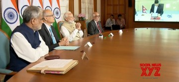 New Delhi:  Prim Minister Narendra Modi and Nepal's Prime Minister K.P.Sharma Oli jointly inaugurate 69 km-long Motihari- Amlekhganj (Nepal) petroleum pipeline via video conferencing on Sep 10, 2019. The first ever cross border petroleum pipeline in south Asia will ensure environment-friendly supply of petroleum products to Nepal. (Photo: IANS/BJP)