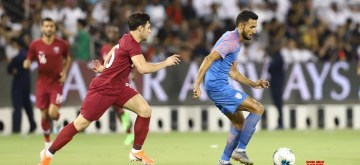 Doha: Players in action during the second Group E match of the FIFA World Cup Qatar 2022 and the AFC Asian Cup China 2023 joint qualifiers between India and  Qatar at Jassim Bin Hamad Stadium in Doha, Qatar on Sep 11, 2019. (Photo: IANS)