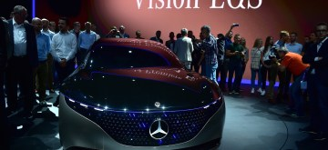 FRANKFURT, Sept. 11, 2019 (Xinhua) -- A Mercedes-Benz Vision EQS is on display during the first press day of Germany's International Motor Show (IAA) 2019 in Frankfurt, Germany, on Sept. 10, 2019. About 800 exhibitors from 30 countries and regions registered for the IAA 2019, which will officially open on Thursday and lasts until Sept. 22. (Xinhua/Lu Yang/IANS)