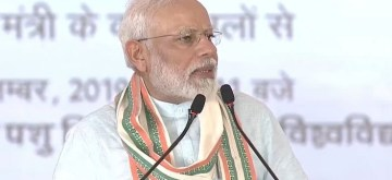 Mathura: Prime Minister Narendra Modi addresses at the launch of National Animal Disease Control Programme (NADCP) in Uttar Pradesh's Mathura on Sep 11, 2019. (Photo: IANS)