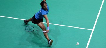 YANGON, Sept. 12, 2019 (Xinhua) -- Gayatri Gopichand Pullela of India competes during the women's singles 2nd round match against Maharani Sekar Batari of Indonesia at the Myanmar International Series 2019 in Yangon, Myanmar, Sept. 12, 2019. (Photo by U Aung/Xinhua/IANS)