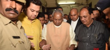 Lucknow: Former Uttar Pradesh Chief Minister Kalyan Singh comes out of a special CBI court in Lucknow, on Sep 27, 2019. The special CBI court in Lucknow on Friday framed charges against senior BJP leader Kalyan Singh in connection with the Babri Masjid demolition case. Charges have been framed against the BJP leader under Sections 153 A, 153 B (unlawful assembly of people), 295 A (inciting religious sentiments), 505 (statements conducing public mischief) and 120B. (Photo: IANS)