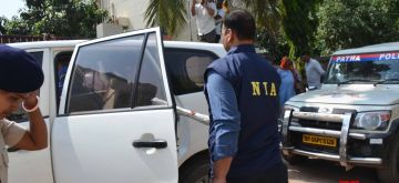 Patna: The National Investigation Agency (NIA) carries out raids at the residence of a Lok Janshakti Party (LJP) leader Hulas Pandey in an alleged Munger arms case in Patna on June 20, 2019. 22 AK-47 rifles smuggled from the Central Ordnance Depot in Jabalpur were recovered from Munger district since September 2018. (Photo: IANS)