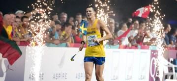 DOHA, Oct. 5, 2019 (Xinhua) -- Perseus Karlstrom of Sweden competes during the men's 20km race walk at the 2019 IAAF World Athletics Championships in Doha, Qatar, Oct. 5, 2019. (Xinhua/Li Gang/IANS)