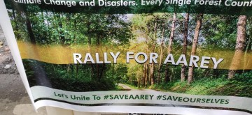 Mumbai: People opposing the proposed felling of trees in Aarey colony stage a demonstration against Maharashtra Government's decision to build Metro Car Shed, Metro Bhavan and cutting of 2,700 trees, in Mumbai on Sep 29, 2019. (Photo: IANS)