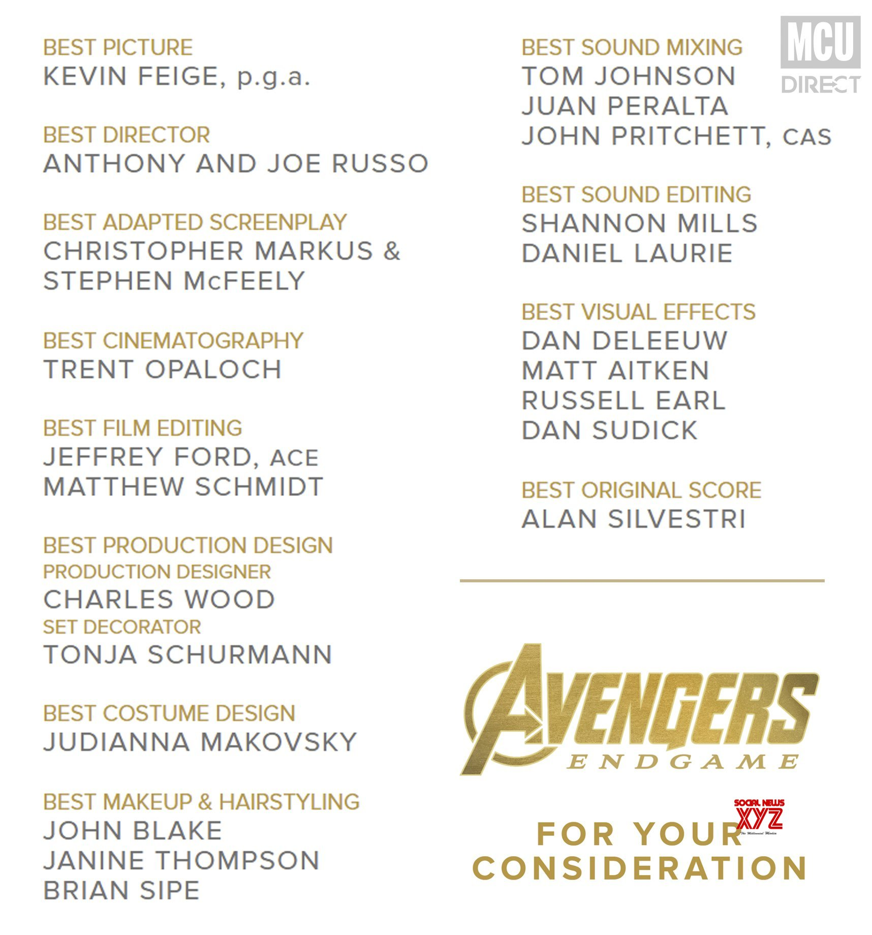 Oscar List 2020.Marvel Releases Their For Your Consideration List For