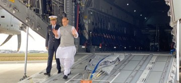 Bordeaux: Defence Minister Rajnath Singh at Merignac to attend the Induction Ceremony of Rafale, in Bordeaux, France on Oct 8, 2019. (Photo: IANS)